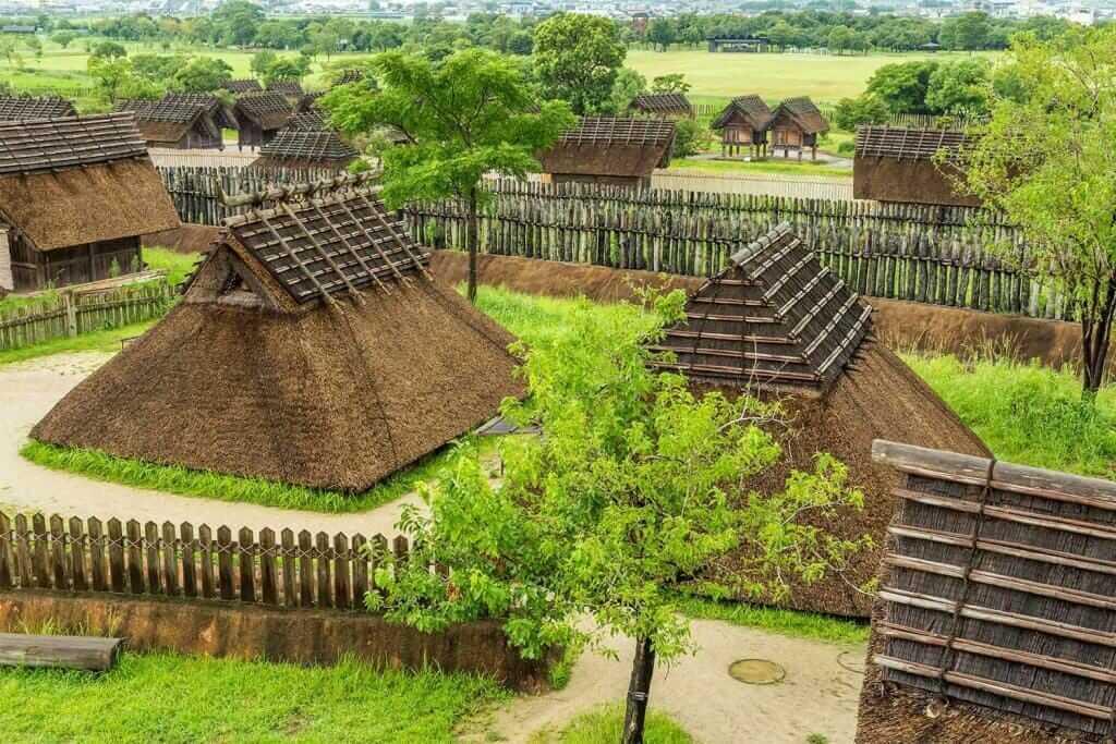 Ancient ruins in Yoshinogari Historical Park, Kanzaki, Saga Prefecture, Japan = Shutterstock