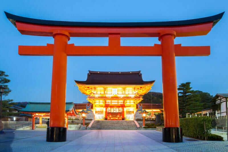 Fushimi Inari Shrine at dusk Kyoto Japan = shutterstock