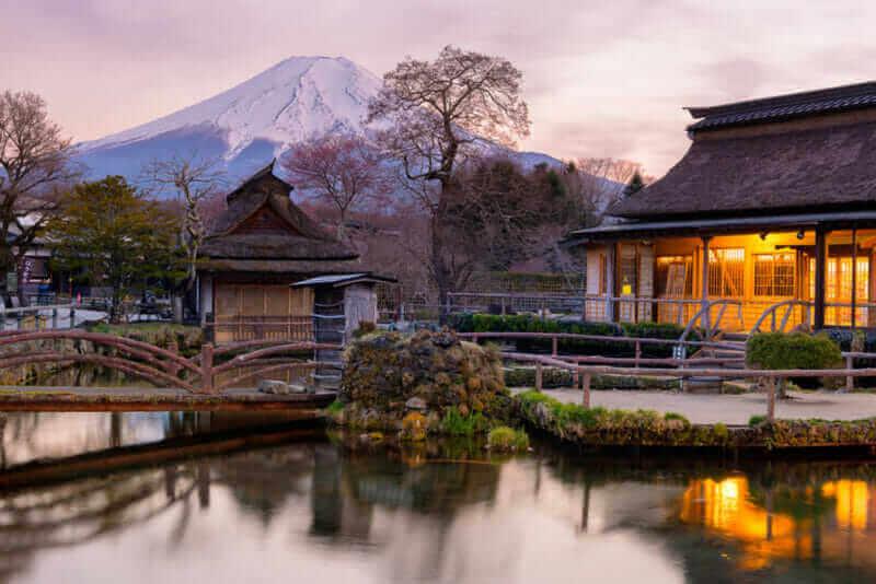 Oshino Hakkai is a small village in the Fuji Five Lake region, located between Lake Kawaguchiko and Lake Yamanakako = shutterstock