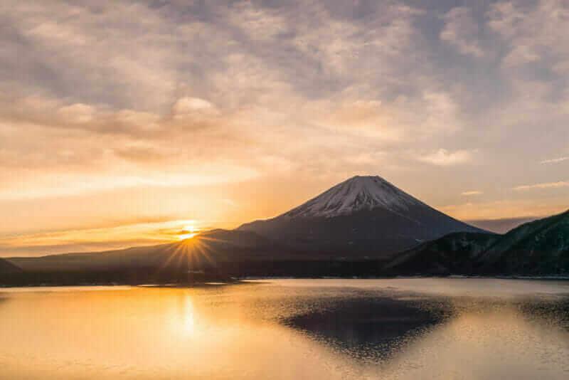 Lake Motosu and Mount Fuji at early morning in winter season. Lake Motosu is the westernmost of the Fuji Five Lakes and located in southern Yamanashi Prefecture near Mount Fuji, Japan = shutterstock