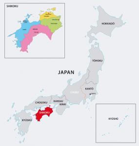 Map of Shikoku = shutterstock