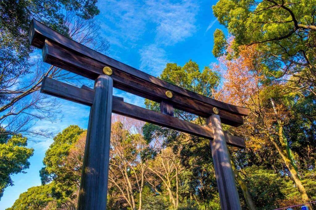 Torii gate at Meiji Jingu Shrine, Harajuku, Tokyo = Shutterstock