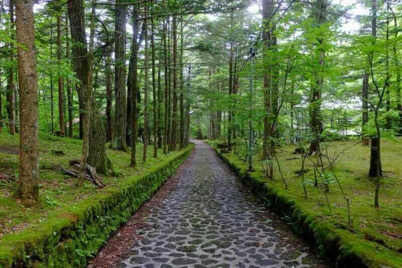 Cobbled pathway often known as 'Happy Valley', Karuizawa, Nagano, Japan