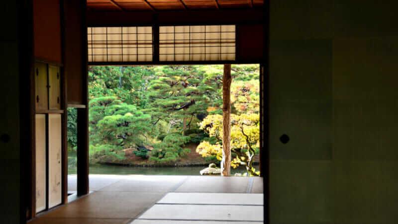 Phòng trà Nhật Bản trong biệt thự hoàng gia Katsura, Nhật Bản Kyoto. Katsura Rikyu = màn trập