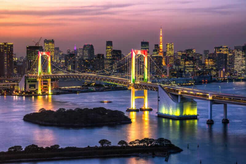 Beautiful night view of Tokyo Bay , Rainbow bridge and Tokyo Tower landmark Twilight scene, Odaiba, Tokyo = shutterstock