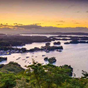 Matsushima, Japan coastal landscape from Mt. Otakamori = shutterstock