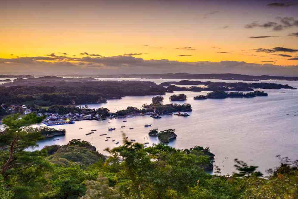 Matsushima, Nhật Bản cảnh quan ven biển từ Mt. Otakamori = màn trập