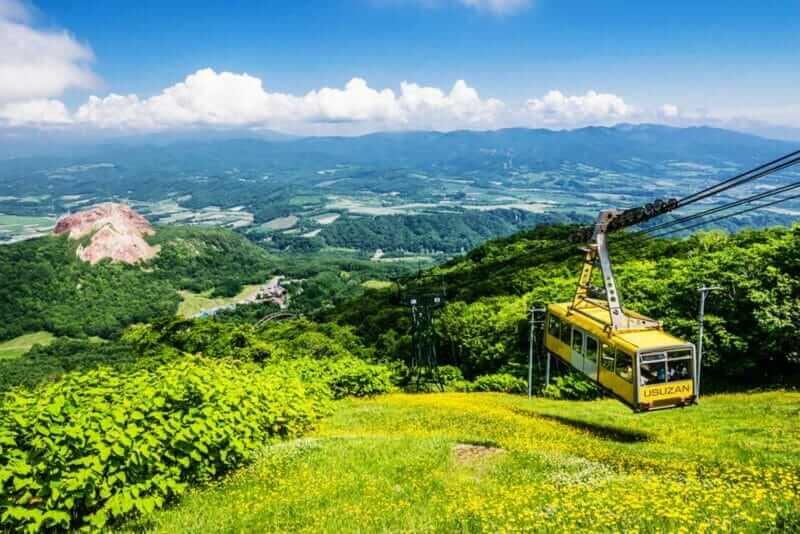 In Usuzan, ropeways are running, Hokkaido, Japan = shutterstock