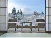 Beautiful Mt.Fuji view at window resort near Kawaguchiko lake at Japan. winter, Travel, Vacation and Holiday in Japan = shutterstock