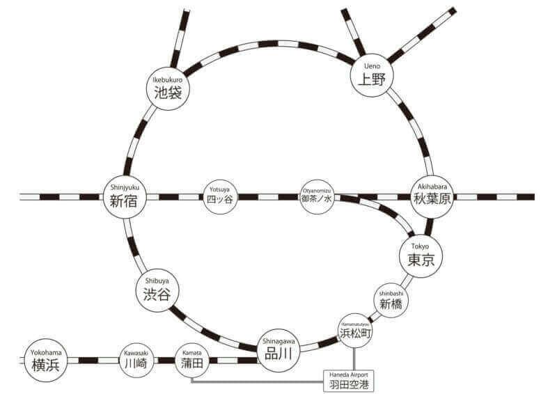 Карта маршрута поезда JR