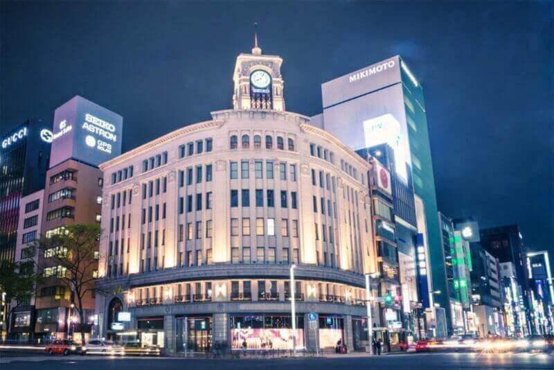 Район Гинза в универмаге Wako. Для модных брендов и универмагов, открытие представительства в районе Гинза, Токио