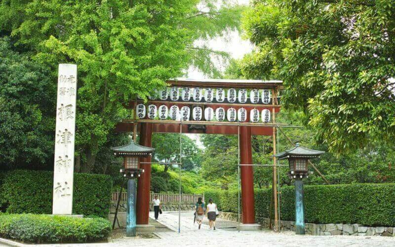 Тории, синтоистские священные ворота в храме Незу или Незу Джинджа, традиционные и исторические места, зарегистрированные японским правительством как важные культурные ценности = shutterstock