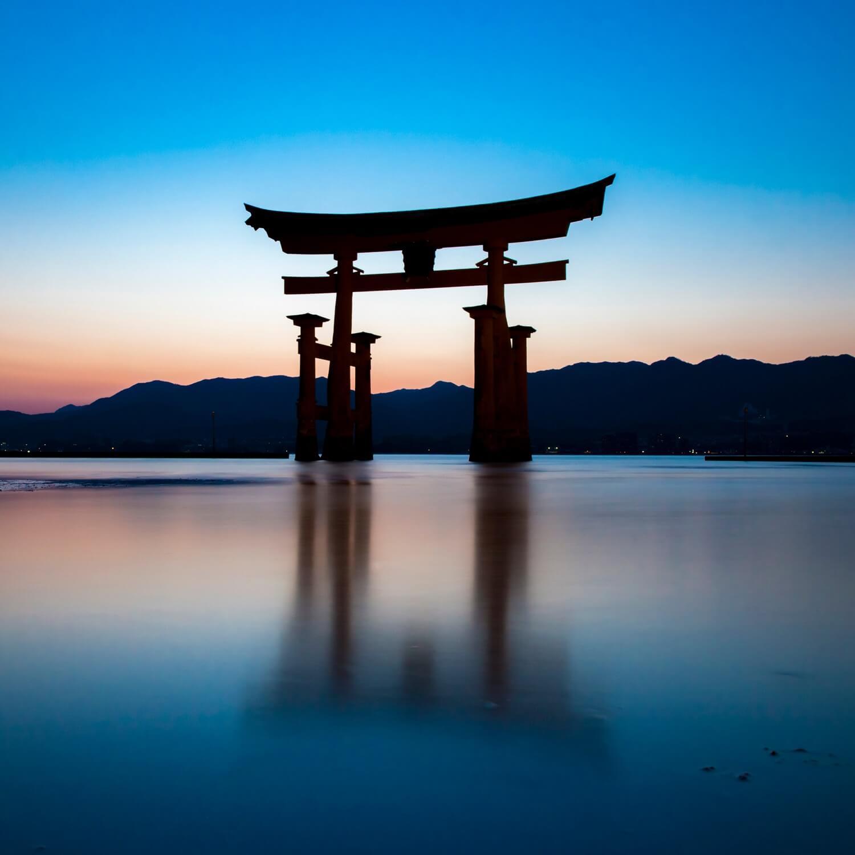 The torii gate of Itsukushima Shrine on Miyajima Island = Shutterstock 1